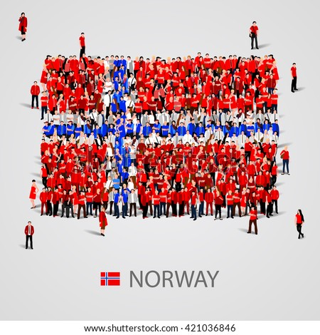 Large group of people in the shape of flag. Norway. Norway flag. Norway flag art. Norway flag image. Norway flag picture. Norway flag people. Norway flag EPS. Norway Flag vector. Vector illustration - stock vector