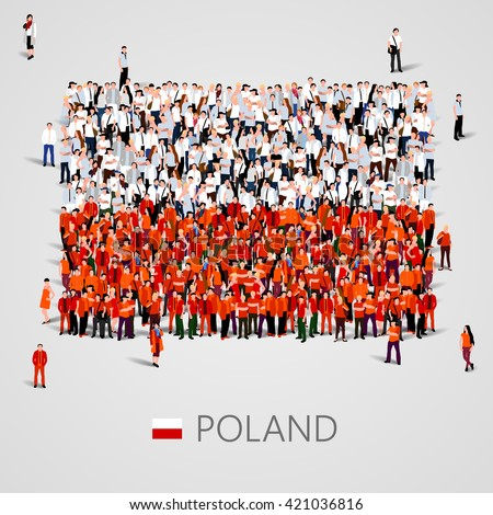 Large group of people in the shape of flag. Poland. Poland flag. Poland flag art. Poland flag image. Poland flag picture. Poland flag people. Poland flag EPS. Poland Flag vector. Vector illustration - stock vector
