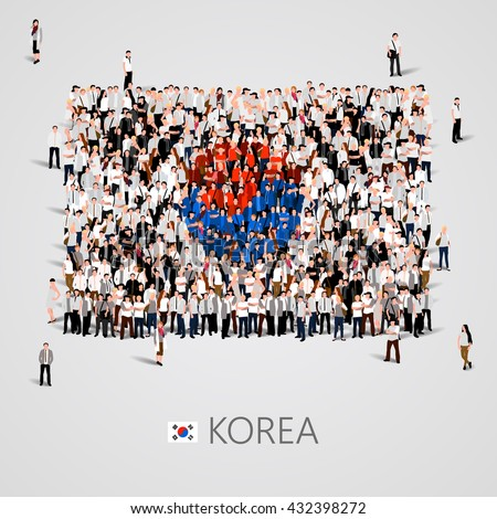Large group of people in the shape of  Korea flag. Republic of Korea. Vector illustration - stock vector