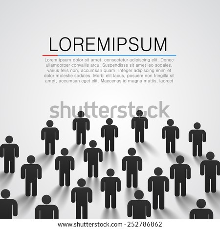 Large group of people silhouette. Vector background - stock vector