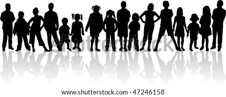 large group of people - vector silhouettes - stock vector