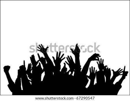 Large group of people with raising hands isolated on white, vector
