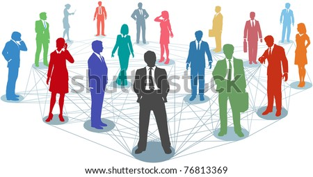 Large group of silhouette business people in nodes connected by many network lines - stock vector