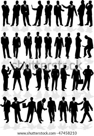 large group of smart men - business people - stock vector