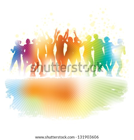 Large group of young people dancing in a club. - stock vector