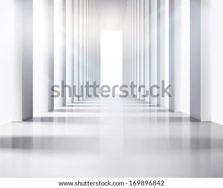 Large hall. Vector illustration. - stock vector