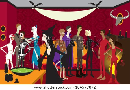 Large Halloween Scene with Banner - stock vector
