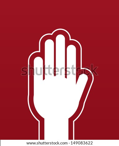 Large hand stop red background  - stock vector
