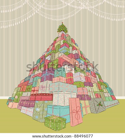 Large heap of christmas gifts - stock vector