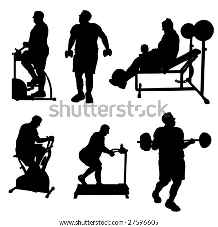 Large Man Exercise Silhouettes - stock vector