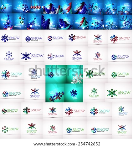 Large mega collection of Christmas and winter design elements - stock vector