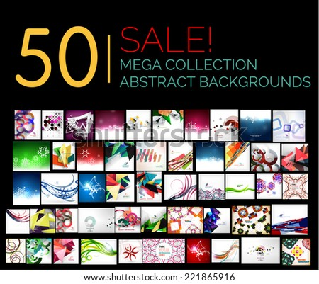 Large mega set of abstract backgrounds, sale. Abstract waves, geometric shapes, Christmas and other - stock vector