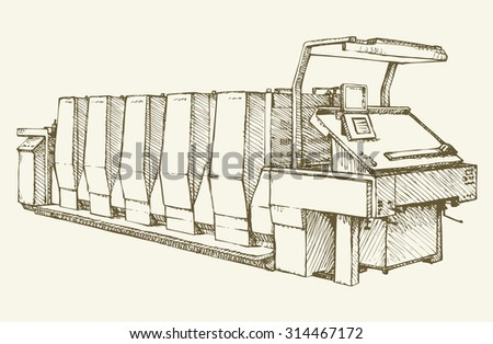 Large modern speed polygraph enterprise five-color unit: cyan, magenta, yellow, black.Vector freehand linear ink drawn background sketchy in art scrawl antiquity style pen on paper with space for text - stock vector