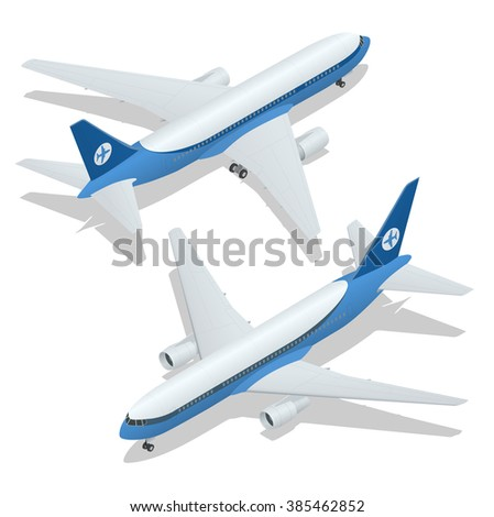 Large passenger Airplane 3d isometric illustration. Flat 3d isometric high quality transport. Vehicles designed to carry large numbers of passengers. Airplane 3d. Airplane Vector.  Airplane flight - stock vector
