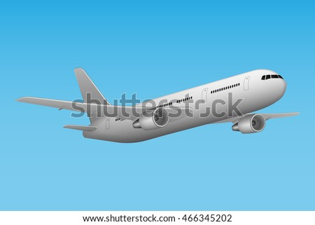 Large passenger Airplane flying in blue sky background. Airline Concept Travel Passenger Aircraft. Vector illustration high detailed airplane. Jet commercial 3d airplane.
