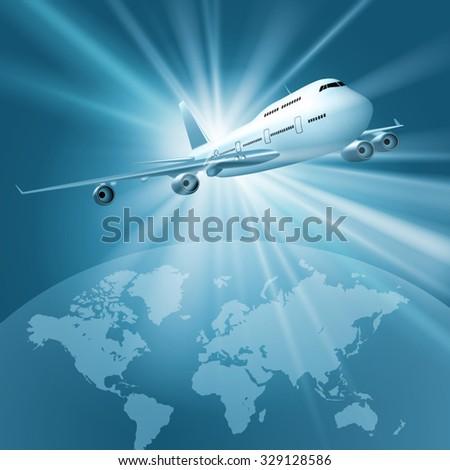 Large passenger plane flying over world map. Vector illustration - stock vector