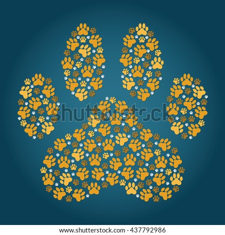 large paw print made up of smaller paw prints - stock vector