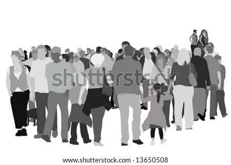 large pedestrian group - stock vector