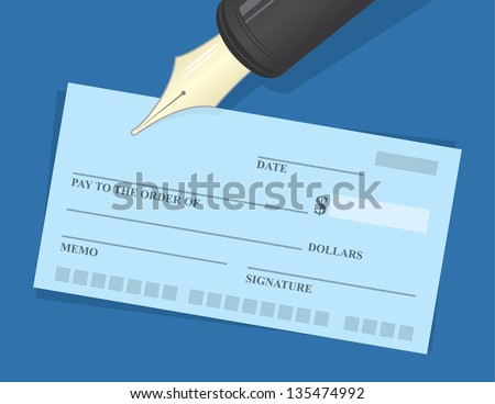 Large pen hovering over checkbook - stock vector