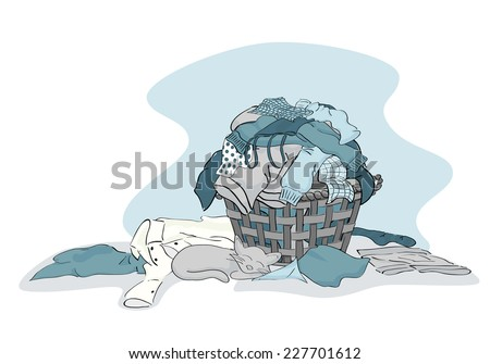Large Pile of Laundry clothing ready to be cleaned in Blue - vector grouped and layered - stock vector