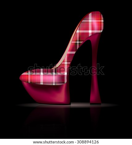 large plaid shoe - stock vector