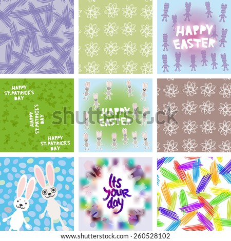 large set of Abstract grunge texture, floral seamless pattern, Happy Easter card design, Happy St. Patrick's Day seamless pattern, It's your day freehand drawing. Vector  - stock vector