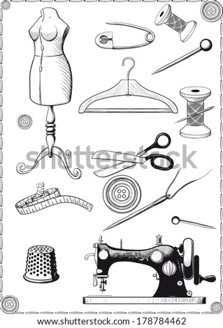large set of accessories for sewing vintage engraving drawn as - stock vector