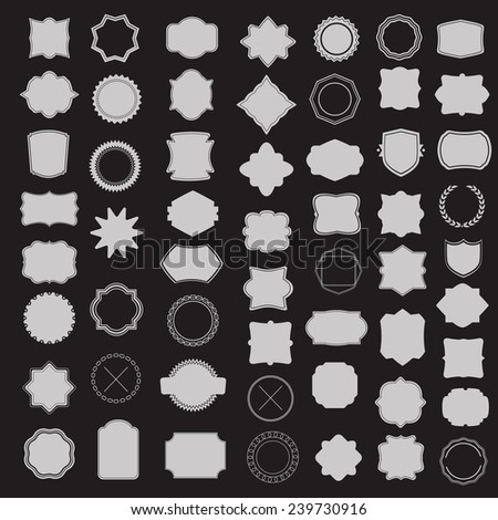 Large set of blank frame, badge and label. Vector  templates for your design - stock vector