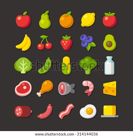 Large set of colorful food icons: fruits, vegetables, meats and dairy. Simple flat vector style. - stock vector