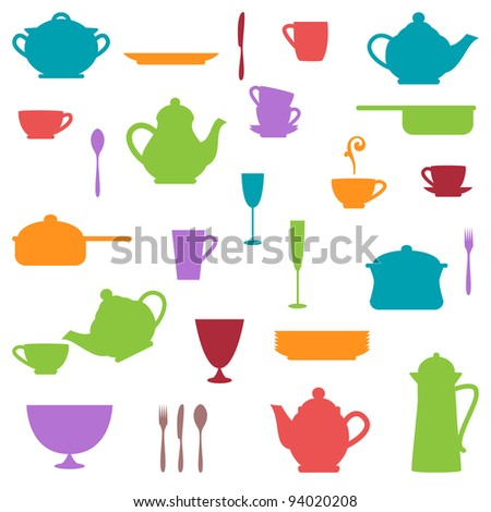 Large Set of Colorful Kitchen Silhouettes - stock vector