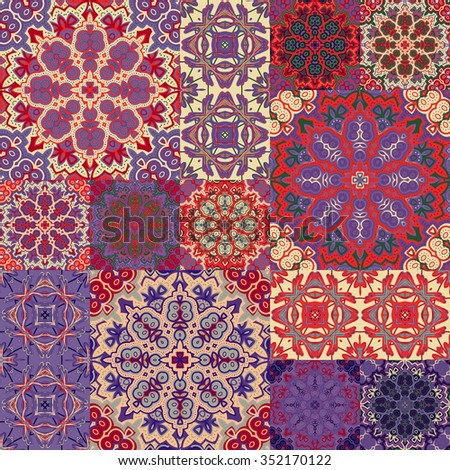Vintage ceramic tiles with ornate moroccan patterns backgrounds