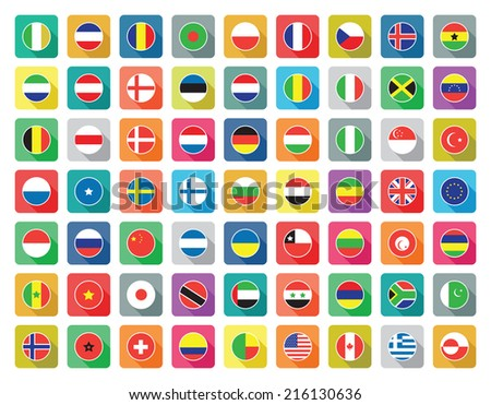 large set of colourful flat world flag icons - stock vector