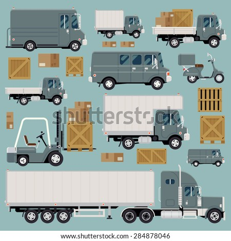 Large set of cool detailed flat design freight commercial transport items featuring delivery van, scooter, flatbed truck, forklift, semi-trailer tractor unit and various types of load and cargo - stock vector