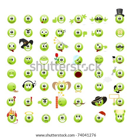 Large set of cool smileys. Vector illustration, isolated on a white.