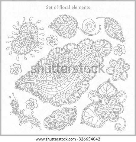 Large set of floral elements, hand-drawing. Vintage decorative elements. Stylized flowers.  Drawn and stylized flowers, leaves, buds, blossoms.  Delicate floral elements for greeting cards, labels.