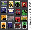 Large Set of Halloween Postage Stamps - stock vector