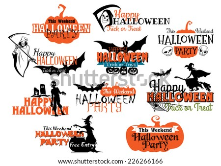 Large set of Happy Halloween eerie designs with various texts decorated with pumpkins, bats, witches, the grim reaper, ghosts, zombie and jack-o-lanterns in orange and black on white - stock vector