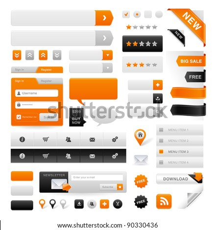 Large set of icons, buttons and menus for websites - stock vector