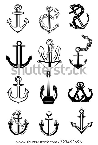 Large set of marine ship anchors black and white icons in a variety of shapes, some with chains, others ropes and one double pair, vector illustration on white - stock vector