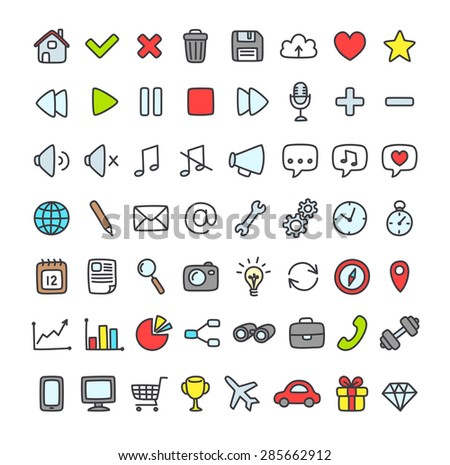 Large set of multipurpose interface icons for web or apps: communication, media, shopping and more. Clean and minimalistic, but with a personal hand drawn feel. Flat outlined icons isolated on white. - stock vector