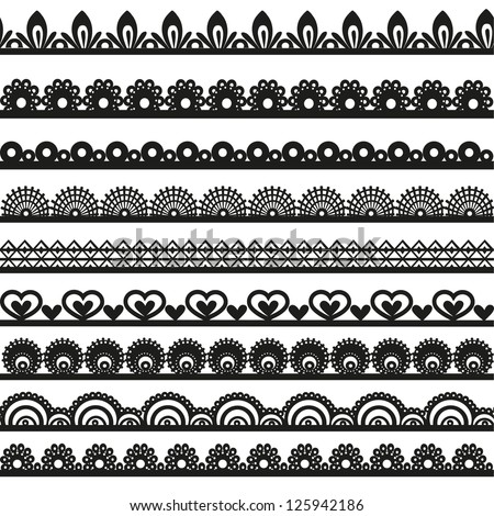 Large set of openwork lace borders black silhouette for your design