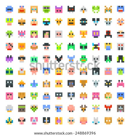 large set of pixel faces - stock vector