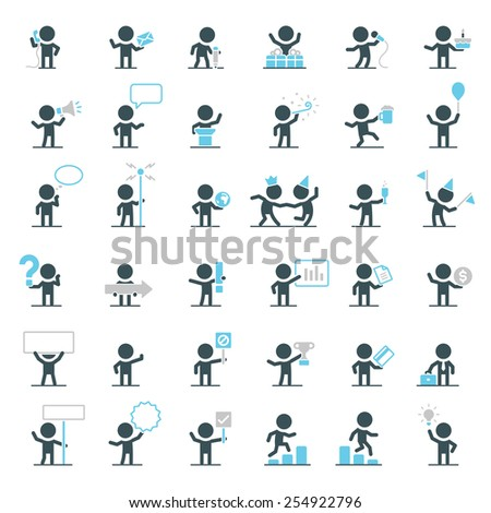 Large set of simple vector characters singing, dancing, working, talking and partying. - stock vector