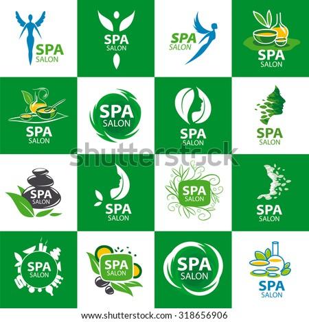 large set of vector logos for spa salon - stock vector