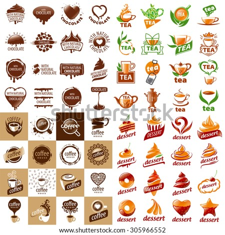 large set of vector logos hot drinks and desserts - stock vector