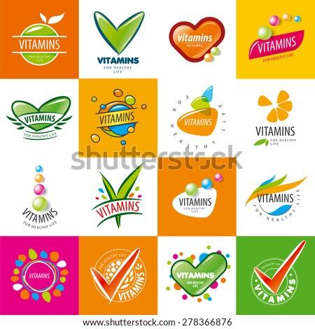 large set of vector logos vitamins - stock vector