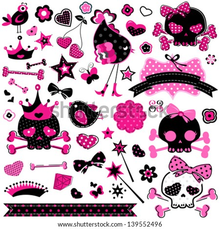 large set of wild girlish cute skulls and other elements - stock vector