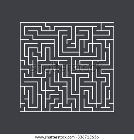 large square maze confusion conundrum on a dark background - stock vector