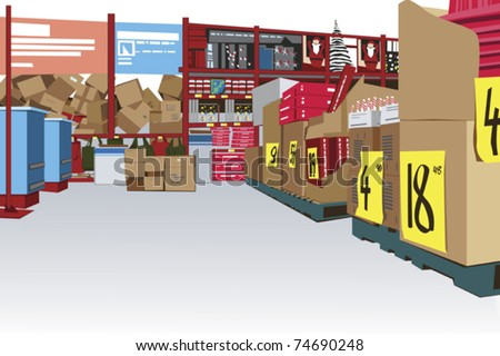large store interior with copy space - stock vector