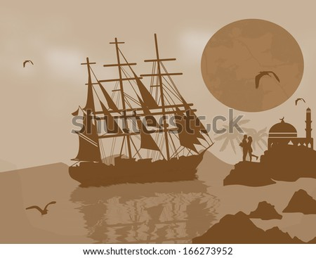 Large  tall ship on the high seas at dusk with lovers, vector illustration - stock vector
